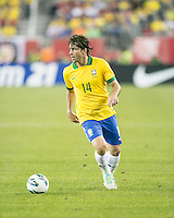Brazil defender Maxwell (14).  In an International friendly match Brazil defeated Portugal, 3-1, at Gillette Stadium on Sep 10, 2013.
