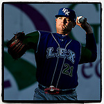Starting pitcher J.C. Cloney (21) of the Lexington Legends warms up before a game against the Greenville Drive on Saturday, September 1, 2018, at Fluor Field at the West End in Greenville, South Carolina. Greenville won, 9-6. (Tom Priddy/Four Seam Images)