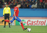 David Villa pushes a penalty kick effort wide of the right post, denying himself the hat trick. Spain defeated Honduras, 2-0, in their second match of play in Group H  in a match played Monday, June 21st, at Ellis Park in Johannesburg, South Africa at the 2010 FIFA World Cup..