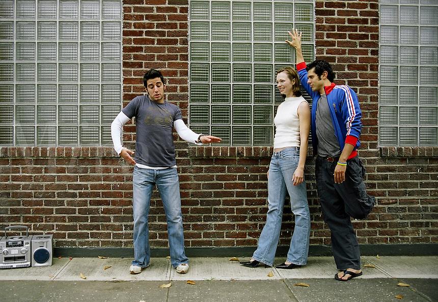 Young man dances hip hop for friends. MR