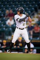 Bradenton Marauders center fielder Casey Hughston (27) at bat during a game against the Tampa Tarpons on April 25, 2018 at LECOM Park in Bradenton, Florida.  Tampa defeated Bradenton 7-3.  (Mike Janes/Four Seam Images)