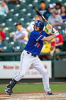 Round Rock Express outfielder Jared Hoying (30) at bat during the Pacific Coast League baseball game against the Omaha Storm Chasers on June 1, 2014 at the Dell Diamond in Round Rock, Texas. The Express defeated the Storm Chasers 11-4. (Andrew Woolley/Four Seam Images)