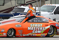 Aug 31, 2019; Clermont, IN, USA; NHRA pro stock driver Wally Stroupe during qualifying for the US Nationals at Lucas Oil Raceway. Mandatory Credit: Mark J. Rebilas-USA TODAY Sports