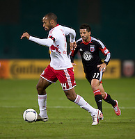 Thierry Henry (14) of New York Red Bulls brings the ball into the box during the game at RFK Stadium in Washington DC. D.C. United tied New York Red Bulls, 1-1.