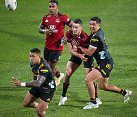 Will Jordan and Anton Lienert-Brown during the 2021 Super Rugby Aotearoa final between the Crusaders and Chiefs at Orangetheory Stadium in Christchurch, New Zealand on Saturday, 8 May 2021. Photo: Joe Johnson / lintottphoto.co.nz