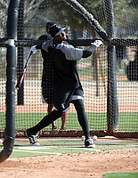 Luis Robert of the Chicago White Sox participates in a pre-season hitting camp at the White Sox training facility at Camelback Ranch on January 16, 2018 in Glendale, Arizona (Bill Mitchell)