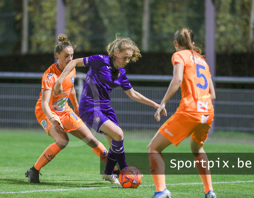Chloe Vande Velde (10 Gent), Jarne Teulings (16 Anderlecht) and Fran Meersman (5 Gent) are in action during a female soccer game between RSC Anderlecht Dames and AA Gent Ladies  on the seventh matchday of the 2020 - 2021 season of Belgian Womens Super League , friday 13 th of November 2020  in Overijse , Belgium . PHOTO SPORTPIX.BE | SPP | SEVIL OKTEM
