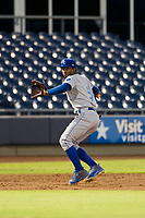 AZL Royals third baseman Angel Medina (9) on defense against the AZL Mariners on July 29, 2017 at Peoria Stadium in Peoria, Arizona. AZL Royals defeated the AZL Mariners 11-4. (Zachary Lucy/Four Seam Images)