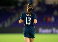 ORLANDO, FL - FEBRUARY 24: Alex Morgan #13 of the USWNT runs during a game between Argentina and USWNT at Exploria Stadium on February 24, 2021 in Orlando, Florida.