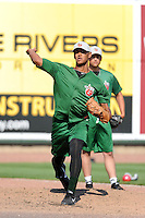 Fort Wayne TinCaps pitcher Joseph Ross (21) throws a bullpen session with Roman Madrid looking on before a game against the Great Lakes Loons on August 19, 2013 at Dow Diamond in Midland, Michigan.  Great Lakes defeated Fort Wayne 12-5.  (Mike Janes/Four Seam Images)