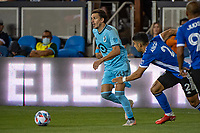 SAN JOSE, CA - AUGUST 17: Adrien Hunou #23 of Minnesota United dribbles the ball during a game between San Jose Earthquakes and Minnesota United FC at PayPal Park on August 17, 2021 in San Jose, California.