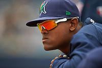 Cedar Rapids Kernels catcher Brian Navarreto (21) in the dugout during a game against the West Michigan Whitecaps on June 7, 2015 at Fifth Third Ballpark in Comstock Park, Michigan.  West Michigan defeated Cedar Rapids 6-2.  (Mike Janes/Four Seam Images)