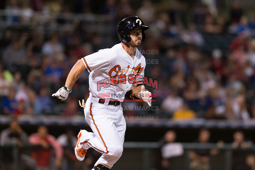 AFL West center fielder Ryan McKenna (82), of the Glendale Desert Dogs and Baltimore Orioles organization, hustles down the first base line during the Arizona Fall League Fall Stars game at Surprise Stadium on November 3, 2018 in Surprise, Arizona. The AFL West defeated the AFL East 7-6 . (Zachary Lucy/Four Seam Images)