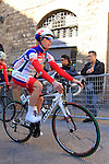 Gianfranco Zilioli (ITA) Androni Giocattoli makes his way to sign on before the start of the 2015 Strade Bianche Eroica Pro cycle race 200km over the white gravel roads from San Gimignano to Siena, Tuscany, Italy. 7th March 2015<br /> Photo: Eoin Clarke www.newsfile.ie