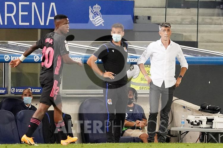 Real Sociedad's coach Imanol Alguacil (r) with the second coach Juan Carlos Andres during La Liga match. September 20, 2020. (ALTERPHOTOS/Acero)