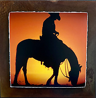 """Cowboy Sunset - Mixed Media - Arizona<br /> <br /> Each unique piece is made to order. If I have the piece in stock I can ship it in 2-3 days. If I don't have it in stock and it has to be made, it will ship in 1-2 weeks. Feel free to contact me at chey.rouse@gmail.com before you order if you need the piece ASAP. <br /> <br /> The photograph is printed on a Silk photo paper, the edges of the photo are torn, photo is mounted to foam board, then I mount it to an 8""""x8"""" piece of rusted metal. The rust is unique on each piece...no two pieces are alike. PLEASE keep in mind that the rust on the piece(s) you receive may be slightly different than the photo. Each piece of metal is sealed after it is done """"rusting"""" and is titled, hand signed and, ready to hang. To see the detail for theses Mixed Media pieces please click on the 1st photo in this gallery. You will be able to see the detail of the torn paper edge as well as the back of the piece. Just click on the piece that you like in this Gallery and then click the GREEN """"BUY"""" button in the left hand corner to add it to your cart."""