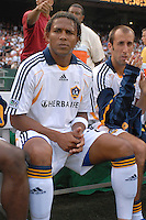 Los Angeles Galaxy forward Carlos Pavon (20) on the bench before the game. DC United defeated the Los Angeles Galaxy 1-0 at RFK Stadium in Washington DC, Thursday August 9, 2007.