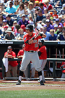Tyler Neslony #10 of the Texas Tech Red Raiders bats during Game 3 of the 2014 Men's College World Series between the Texas Tech Red Raiders and TCU Horned Frogs at TD Ameritrade Park on June 15, 2014 in Omaha, Nebraska. (Brace Hemmelgarn/Four Seam Images)