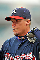 13 April 2008: Atlanta Braves' third baseman Chipper Jones awaits his turn in the batting cage prior to a game against the Washington Nationals at Nationals Park, in Washington, DC. The Nationals ended their 9-game losing streak by defeating the Braves 5-4 in the last game of their 3-game series...Mandatory Photo Credit: Ed Wolfstein Photo