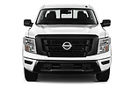 Car photography straight front view of a 2021 Nissan Titan S 4 Door Pick-up Front View