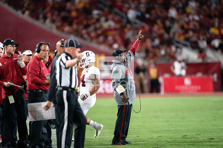 LOS ANGELES, CA - SEPTEMBER 11: Ron Gould during a game between University of Southern California and Stanford Football at Los Angeles Memorial Coliseum on September 11, 2021 in Los Angeles, California.