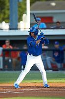Matt Morales (21) of the Burlington Royals at bat against the Kingsport Mets at Burlington Athletic Stadium on July 27, 2018 in Burlington, North Carolina. The Mets defeated the Royals 8-0.  (Brian Westerholt/Four Seam Images)