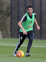 Pictured: Neil Taylor Thursday 25 February<br /> Re: Swansea City FC training at Fairwood, near Swansea, Wales, UK, ahead of their game against Tottenham Hotspur.