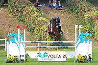 5th September 2021; Bicton Park, East Budleigh Salterton, Budleigh Salterton, United Kingdom: Bicton CCI 5* Equestrian Event; Gemma Tattersall riding Chilli Knight clears The Voltaire fence on her way to winning Bicton 5*