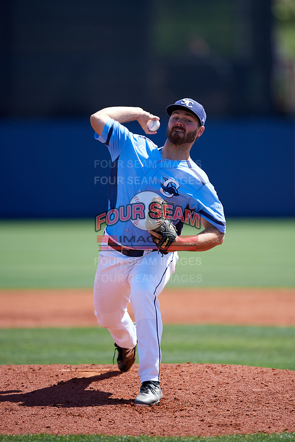 Charlotte Stone Crabs starting pitcher Blake Bivens (30) delivers a pitch during a game against the Palm Beach Cardinals on April 12, 2017 at Charlotte Sports Park in Port Charlotte, Florida.  Palm Beach defeated Charlotte 8-7.  (Mike Janes/Four Seam Images)