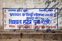 India, Dehradun.  Anti-corruption Political Sign.
