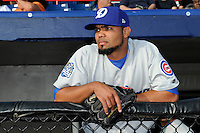 Daytona Cubs pitcher Luis Liria #99 in the dugout before a game against the Brevard County Manatees at Spacecoast Stadium on April 5, 2013 in Viera, Florida.  Daytona defeated Brevard County 8-0.  (Mike Janes/Four Seam Images)