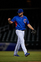 AZL Cubs 2 relief pitcher John Pomeroy (50) walks off the field between innings of an Arizona League game against the AZL Dbacks on June 25, 2019 at Sloan Park in Mesa, Arizona. AZL Cubs 2 defeated the AZL Dbacks 4-0. (Zachary Lucy/Four Seam Images)