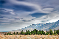 Lenticular clouds above the Eastern Sierra Mountains, California