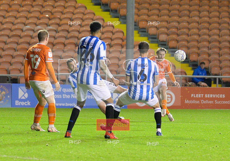 14/09/2021 Sky Bet Championship Blackpool v Huddersfield Town  <br /> <br /> Josh Bowler shoots wide
