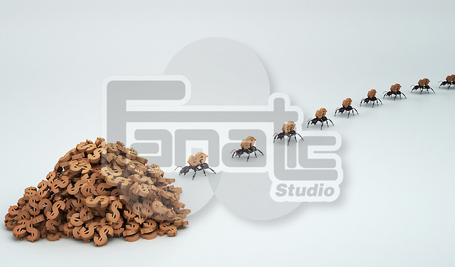 Row of ants collecting Dollar sign isolated over colored background depicting teamwork