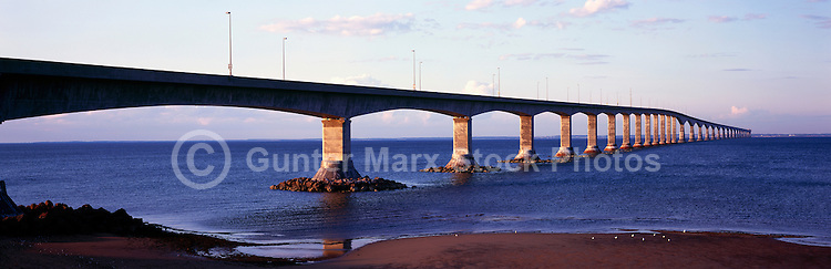 Confederation Bridge crossing Northumberland Strait, New Brunswick, NB, to Prince Edward Island, PEI, Canada - Panoramic View
