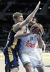 Real Madrid's Ioannis Bourousis (r) and Alba Berlin's Martin Seiferth during Euroleague match.March 12,2015. (ALTERPHOTOS/Acero)