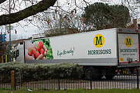 A Morrisons Truck on its way to a store during the Coronavirus pandemic at Sidcup, Kent, England on 2 April 2020. Photo by Alan Stanford.