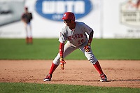 Auburn Doubledays right fielder Juan Soto (26) leads off during the second game of a doubleheader against the Batavia Muckdogs on September 4, 2016 at Dwyer Stadium in Batavia, New York.  Batavia defeated Auburn 6-5. (Mike Janes/Four Seam Images)