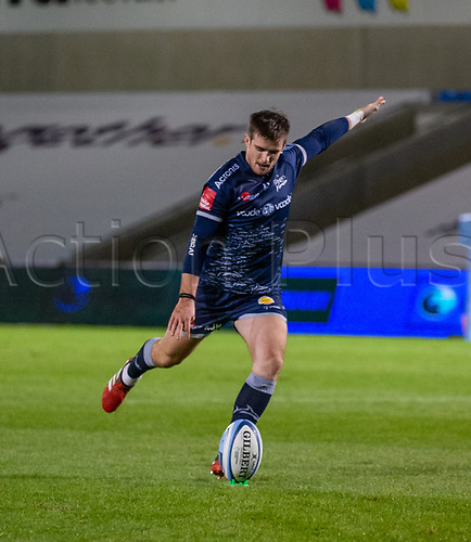 20th November 2020; AJ Bell Stadium, Salford, Lancashire, England; English Premiership Rugby, Sale Sharks versus Northampton Saints;  AJ MacGinty of Sale Sharks converts his own try to make the score 29-13 in the 60th minute