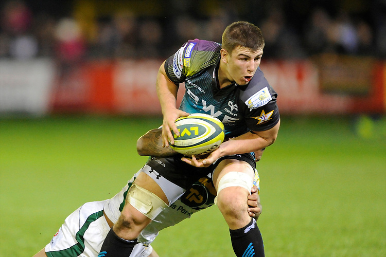 Tom Prydie of Ospreys during the LV= Cup second round match between Ospreys and Northampton Saints at Riverside Hardware Brewery Field, Bridgend (Photo by Rob Munro)