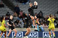22nd May 2021; Eden Park, Auckland New Zealand;  Sarah Hirini gathers high ball. Black Ferns Womens Sevens versus Australia Women, Trans-Tasman Sevens at Eden Park, Auckland.