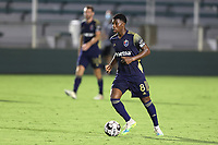 CARY, NC - AUGUST 01: Dre Fortune #8 plays the ball during a game between Birmingham Legion FC and North Carolina FC at Sahlen's Stadium at WakeMed Soccer Park on August 01, 2020 in Cary, North Carolina.