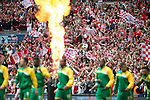 Norwich City 2 Middlesbrough 0, 25/05/2015. Wembley Stadium, Championship Play Off Final. Norwich and Middlesbrough players head out onto the pitch. A match worth £120m to the victors. On the day Norwich City secured an instant return to the Premier League with victory over Middlesbrough in front of 85,656. Photo by Simon Gill.