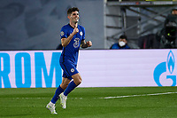 April 27th 2021; Alfredo Di Stefano Stadium, Madrid, Spain;  UEFA Champions League. Christian Pulisic of Chelsea FC celebrates scoring his 1st goal in the 13th minute for 0-1 during the Champions League match, semifinals between Real Madrid and Chelsea FC played at Alfredo Di Stefano Stadium