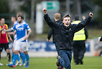 St Johnstone v Partick Thistle…13.05.17     SPFL    McDiarmid Park<br />A saints fan celebrates at full time as saints qualify for Europe<br />Picture by Graeme Hart.<br />Copyright Perthshire Picture Agency<br />Tel: 01738 623350  Mobile: 07990 594431