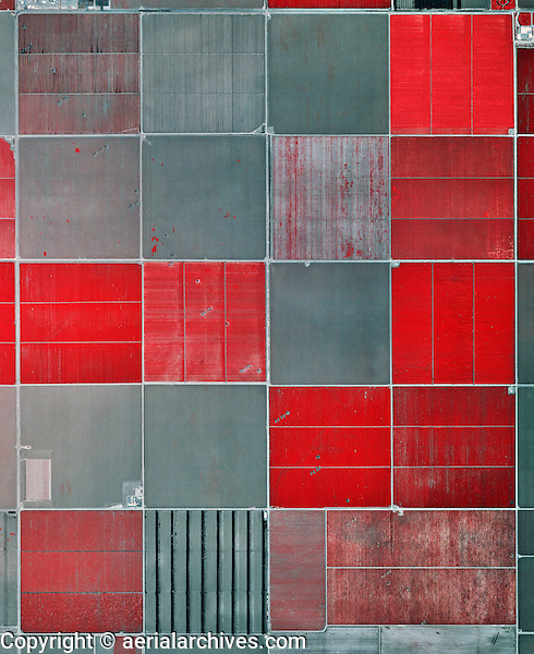 color infrared aerial photograph agricultural fields near Fresno, California
