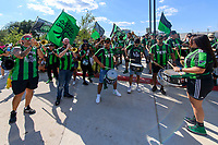 AUSTIN, TX - JUNE 19: The Supporters Group march before a game between San Jose Earthquakes and Austin FC at Q2 Stadium on June 19, 2021 in Austin, Texas.