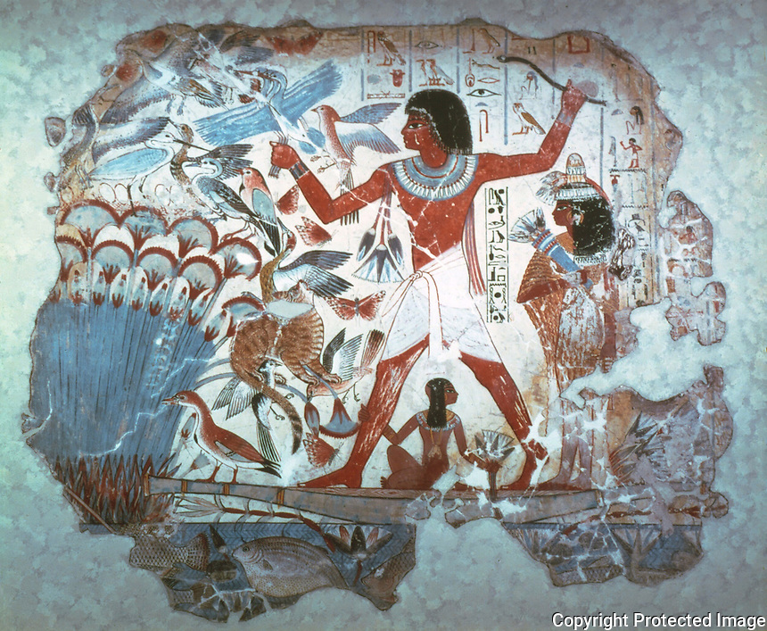 Egyptian Tomb Paintings:  Fowling in the marshes, c. 1400 BC.  Trustees of the British Museum.  Reference only.
