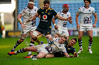 22nd November 2020; Ricoh Arena, Coventry, West Midlands, England; English Premiership Rugby, Wasps versus Bristol Bears; Jimmy Gopperth of Wasps tackles Daniel Thomas of Bristol to the ground